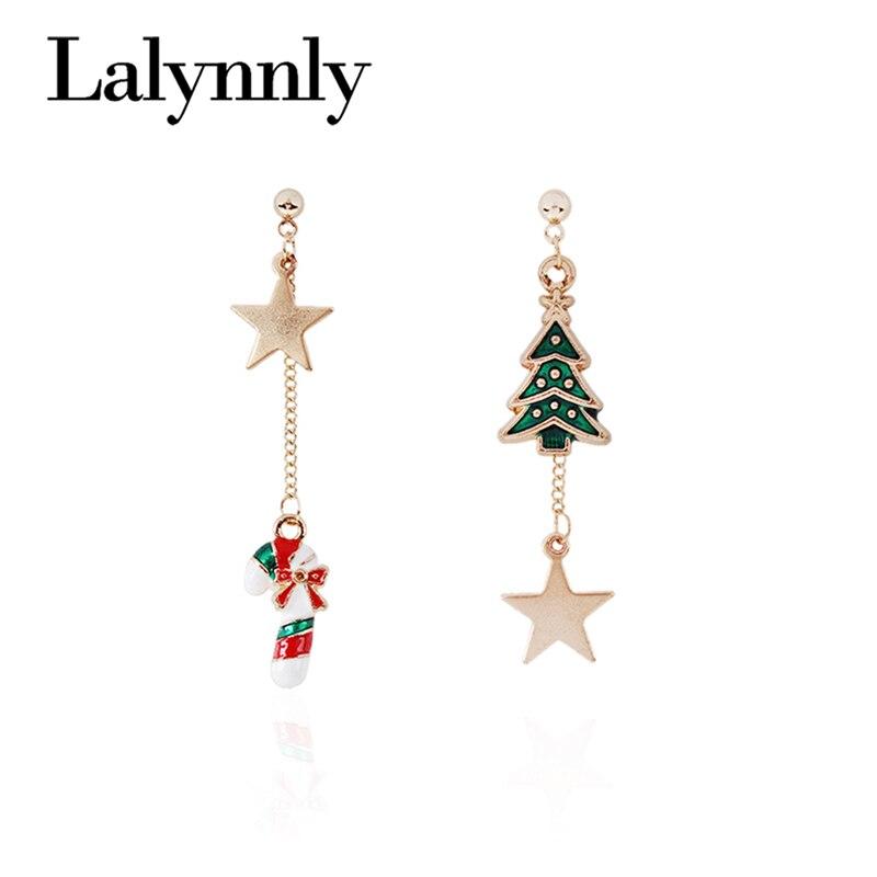 Pendientes largos Lalynnly con forma de estrella de árbol de Navidad, pendientes largos a la moda para mujer, joyería, regalos de Navidad, venta al por mayor, E41741
