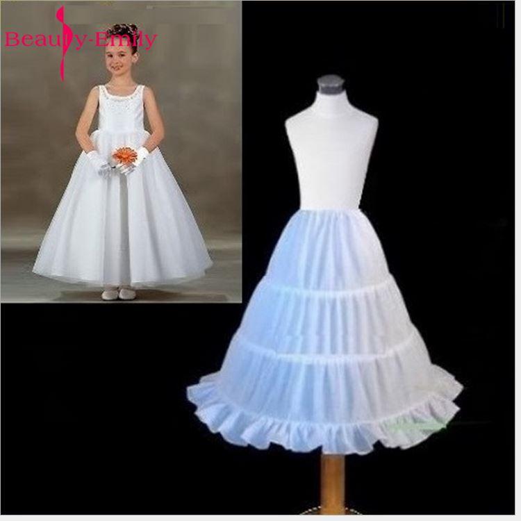 Dentelle blanche mariage fleur fille jupon trois cerceaux robe de bal jupon Crinoline sous-jupe