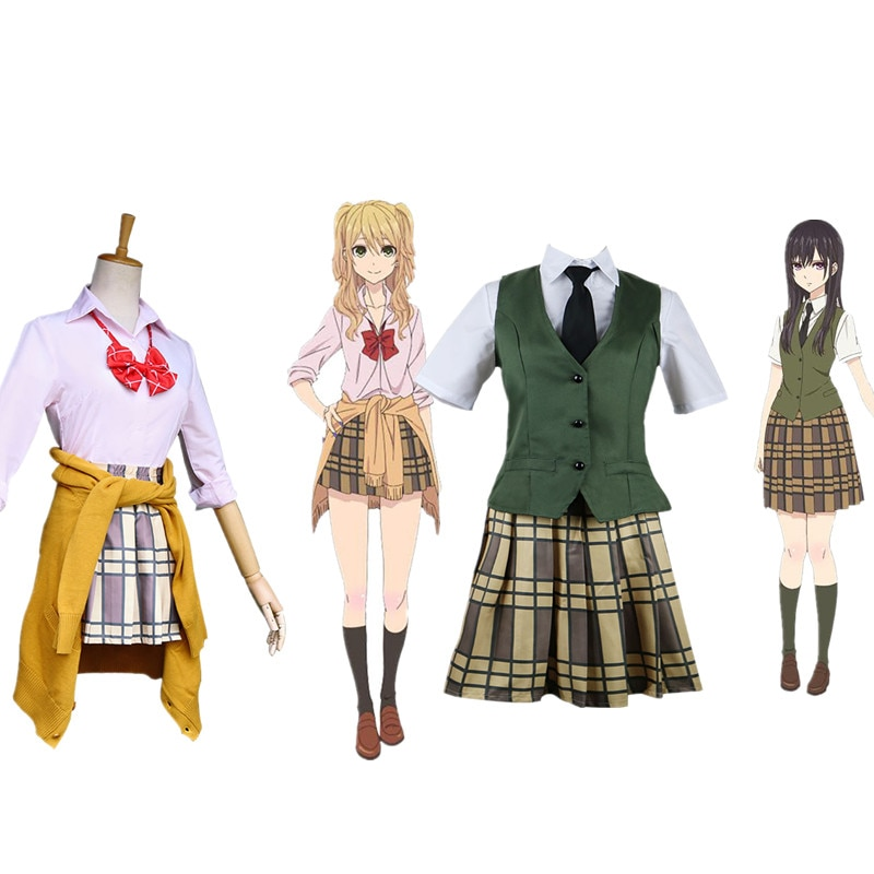 New Anime Citrus Cosplay Costume Aihara Yuzu / Aihara Mei Uniform Outfit Necktie Shirt Skirt Vest / Sweater