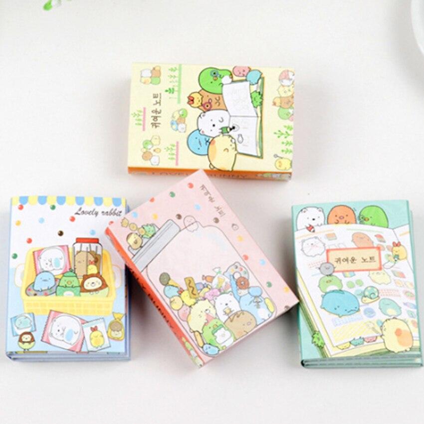 1 paket/los Cartoon Kawaii Tier Fach Schreibwaren Memo Sticky Abnehmbare Papier Memo Pad Erinnerung Label Für Schule Büro Liefert