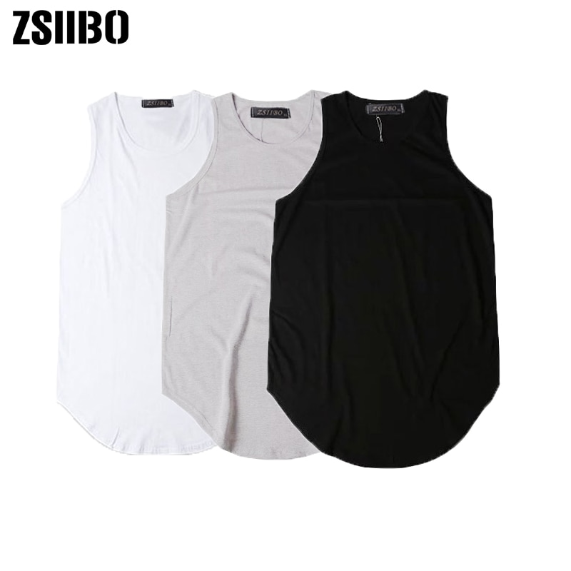 Streetwear sin mangas verano extendido Swag tank top hombres curvado Hem larga línea Tops Hip Hop Urban Blank chaleco TX151-R
