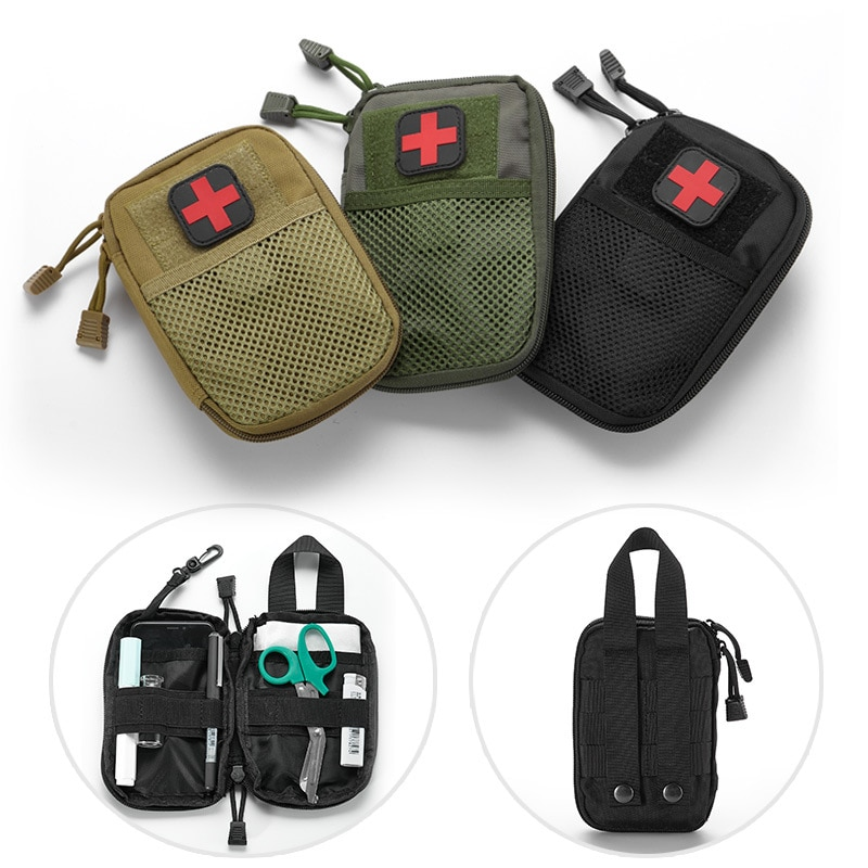 Kit de primeros auxilios militar portátil, bolsa vacía, bolsa anti-insectos, resistente al agua para senderismo, viaje, casa, coche, tratamiento de emergencia