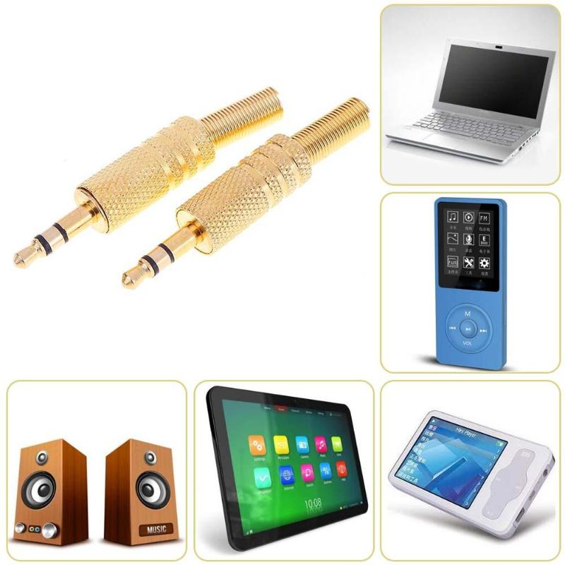 2Pcs 1/8in Estéreo Fone De Ouvido Fone de Ouvido 3.5mm Jack De Áudio DIY Solda Plug Conectores para Laptops Computadores Tablets MP3