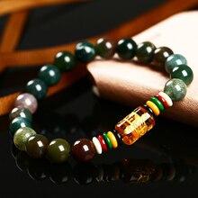 Романтические ювелирные изделия и 8 мм натуральный камень оникс браслет шесть буддийские мантры браслеты из бисера оптовая продажа