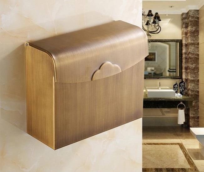 2016 diseño de soporte de papel higiénico con acabado de latón antiguo/soporte para papel de cocina de bronce/soporte de rollo, caja de pañuelos impermeable para baño 731