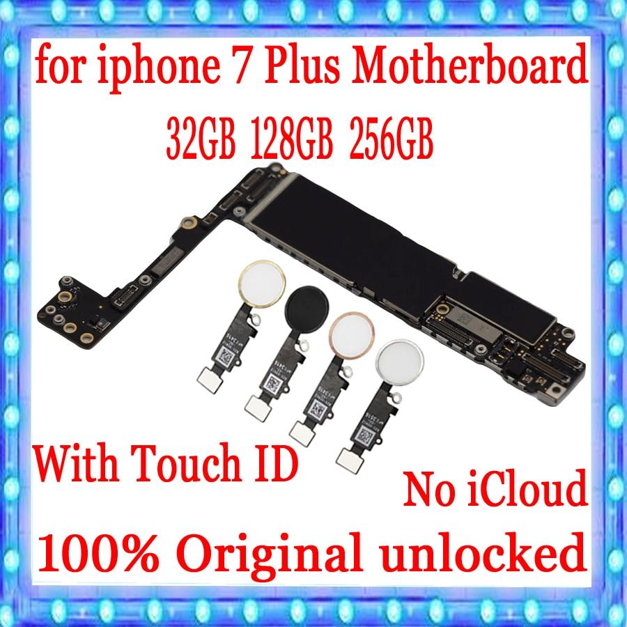 Placa base desbloqueada de fábrica para iphone 7 Plus con Touch ID,100% Original para iphone 7 Plus 7 P placa lógica 32GB / 128GB / 256GB