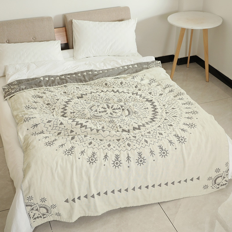 Junwell-بطانية شيفون 100% قطن مسامية ، سرير ، أريكة ، سفر ، شيك ، ماندالا ، كبير ، ناعم ، بطانية ، صيفي