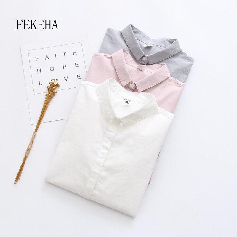 FEKEHA Office Women White Blouse Work Wear Shirt Autumn Cotton Long Sleeve Pink Grey Work Wear Ladies Tops Female Shirt Solid