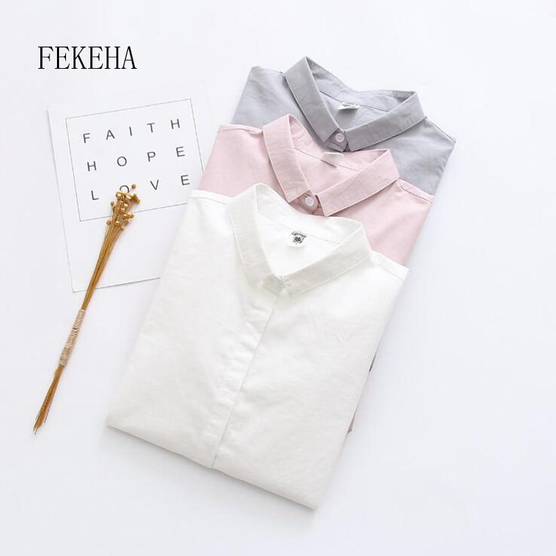 FEKEHA Oficina mujer blusa blanca Ropa de Trabajo camisa otoño algodón manga larga Rosa gris Ropa de Trabajo señoras Tops mujer camisa sólida