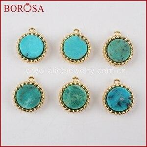 Круглые Подвески BOROSA ZG0163 из драгоценных камней 8 мм, 100% натуральный синий камень, 10 шт.