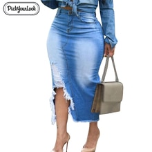 Pickyourlook Plus Size Denim Skirt for Women High Waist Ripped Hole Maxi Skirt Women Vintage Bodycon Jeans Lady Skirt Streetwear