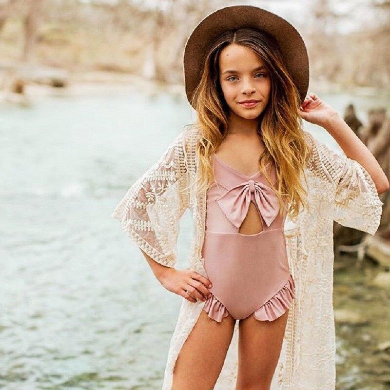 Traje de baño de una pieza estilo volantes de Rosa puro para niña bebé, traje de baño con lazo para niña, traje de baño de verano 2018, ropa de playa