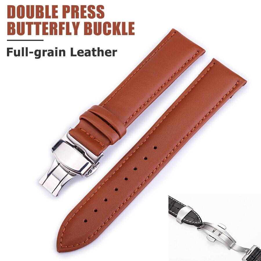 2018 correa de cuero de vaca de tejido liso correa de reloj de doble presión mariposa hebilla accesorios de correa para hombres y mujeres 12mm-24mm