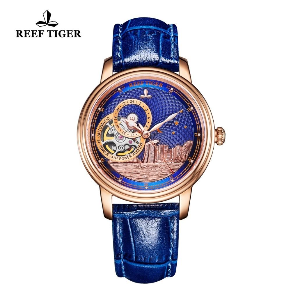 Reef Tiger/RT Luxury Brand Ladies Designer Watch Men Classic Automatic Watch Sapphire Crystal Rose Gold Wrist Watches RGA1739 enlarge