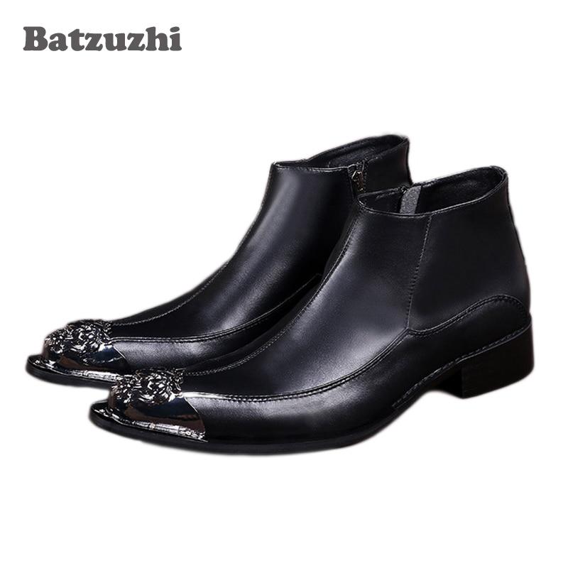 Batzuzhi Japanese Style Fashion Mens Boots Pointed Iron Toe Black Men Leather Ankle Boots Zip Antumn Boots Men Botas Masculina