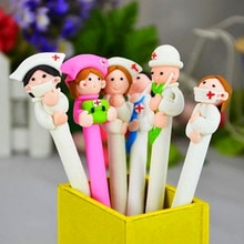 10 pièces/lot polymère argile stylo stylo à bille mignon enfant cadeau école prix kawaii papeterie huile stylo infirmière et docteur poupée stylo
