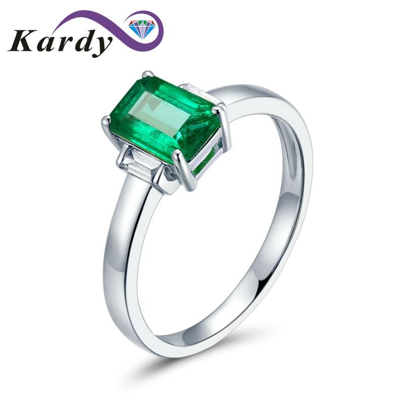Anillo sencillo elegante con piedras preciosas de Esmeralda Natural de Columbia sólido de oro blanco de 14 K, anillo de compromiso de diamante, anillo de boda para mujer