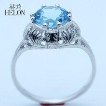 HELON solide 10 k or blanc impeccable 8mm ronde véritable topaze bleue fiançailles mariage Vintage Cocktail gravure Art Nouveau anneau