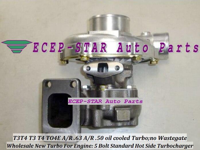 Refrigerado A água T3T4 T3 T4 TO4E Universal Turbo Turbocharger 5 Parafuso compressor a/r. 50 turbine A/R. 63 T3 300-400HP flange Juntas