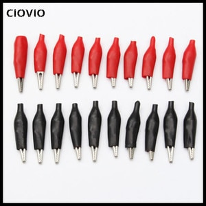 100pcs 28MM Metal Alligator Clip G98 Crocodile Electrical Clamp Testing Probe Meter Black Red with Plastic Boot Car Auto Battery