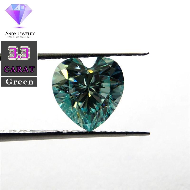 10*10 مللي متر 3.3 قيراط الأخضر اللون المويسانتي القلب بريليانت قص كذا المواد مماثلة إلى الماس