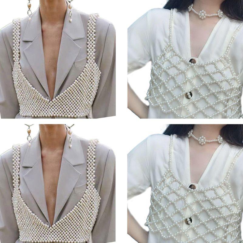 Top cropped imitação pérolas sensual, blusa feminina cropped outono camisola decoração festa à noite clube