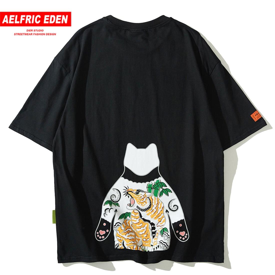 Aelfric Eden divertido japonés Ukiyo-E-estampado de gato camiseta Streetwear hombres Hip Hop Harajuku Tops Tees 2019 Casual camisetas de manga corta