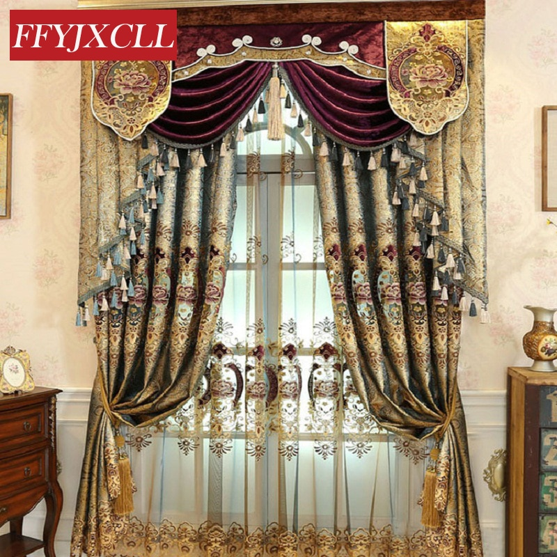 Color dorado oscuro Europa lujo Villa cenefa Floral cortinas para sala de estar dormitorio ventana bordado tul cortinas