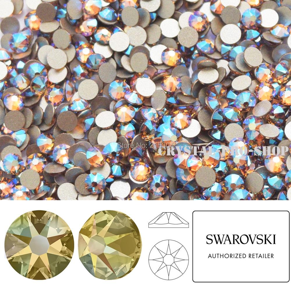 Nuevo efecto, Elementos Swarovski Light Colorado Topaz Shimmer (246 cuña) (ss30 ss5-) (sin Hotfix), diamantes de imitación de cristal con parte posterior plana