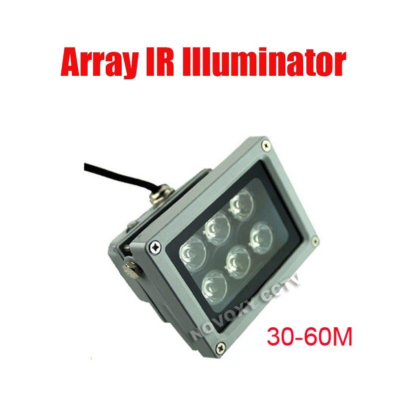 Envío Gratis 30-60m impermeable 6 uds Array LED lámpara IR iluminador para la aplicación nocturna de la cámara CCTV