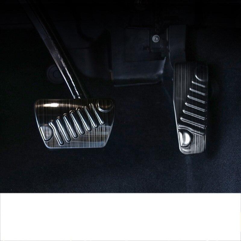 Lsrtw2017 pedal de freno de acelerador de coche de acero inoxidable negro titanio para jeep wrangler JL 2018 2019 2020
