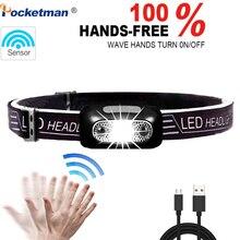 6000Lm Mini LED Koplamp Oplaadbare Body Motion Sensor LED Koplamp Camping Zaklamp Head Light Fakkel Lamp Met USB