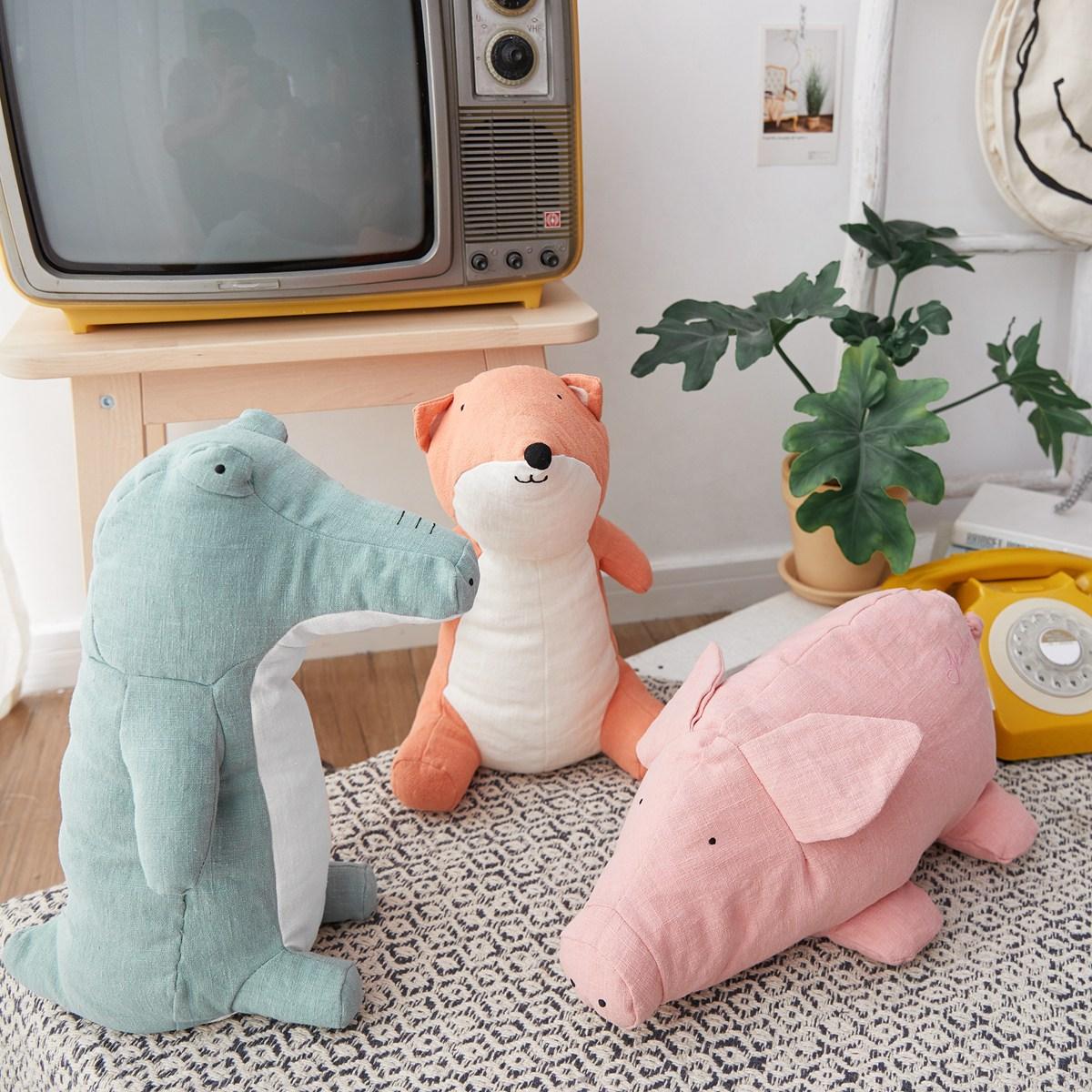 Lovely 36cm Summer New Styles kawaii Animal Fox Pig Crocodile Ramie Plush Stuffed Toy Cute Animal Plush Dolls Toys For Children