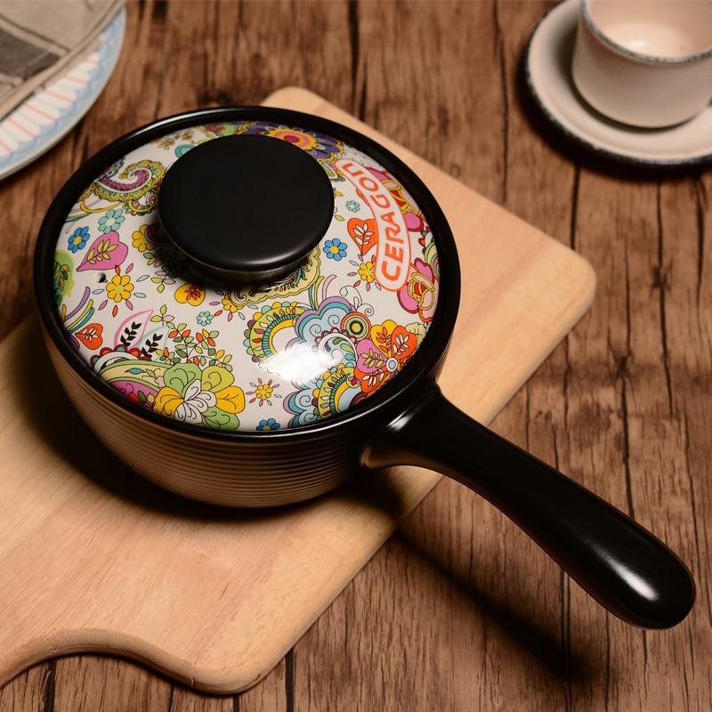 طاجن سيراميك للأطفال بدرجة حرارة عالية, وعاء طبخ للأطفال مع مقبض ، وعاء للحليب ، وعاء يخنة