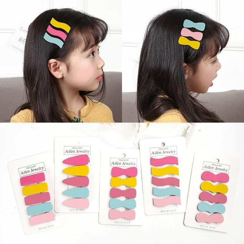 Candygirl 5 unids/set Candy Hair Pins lindo Snap horquillas para niñas chico pasador BB Hair Styling headset accesorios herramientas
