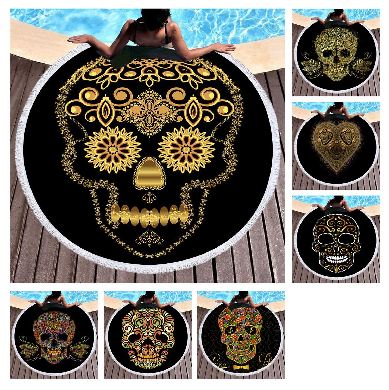 Envío Gratis gótico fresco cráneo dorado flor corazón dólar patrón flinged grande redondo natación baño playa toalla manta tiro 150cm