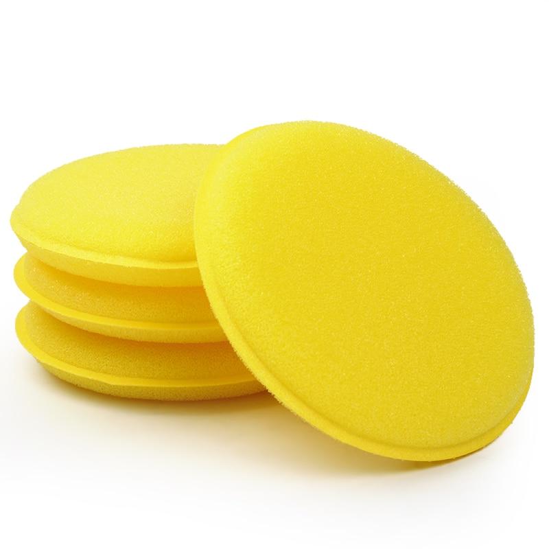 LEEPEE 12 pcs/set Car Wax Sponge Anti-Scratch Car Care Sponge Polishing Towel Tyre Dressing Foam Yellow Automobile Cleaning Tool