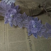 2 yards puple pearl flower leaf handmade beaded embroidered lace trim ribbon applique wedding dress sewing craft diy new