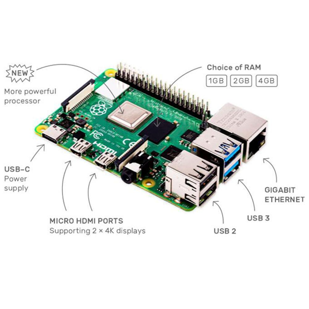 Raspberry Pi 4B 4 Model B 4GB RAM of LPDDR4 SDRAM 1.5GHz 64-bit Quad-core enlarge