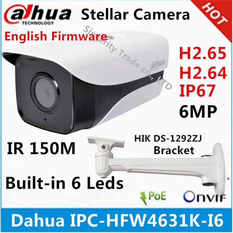 Оригинальная ip-камера Dahua, 6 МП, POE, IP67, 6 светодиодов, IR150M, с кронштейном, многоязычная прошивка