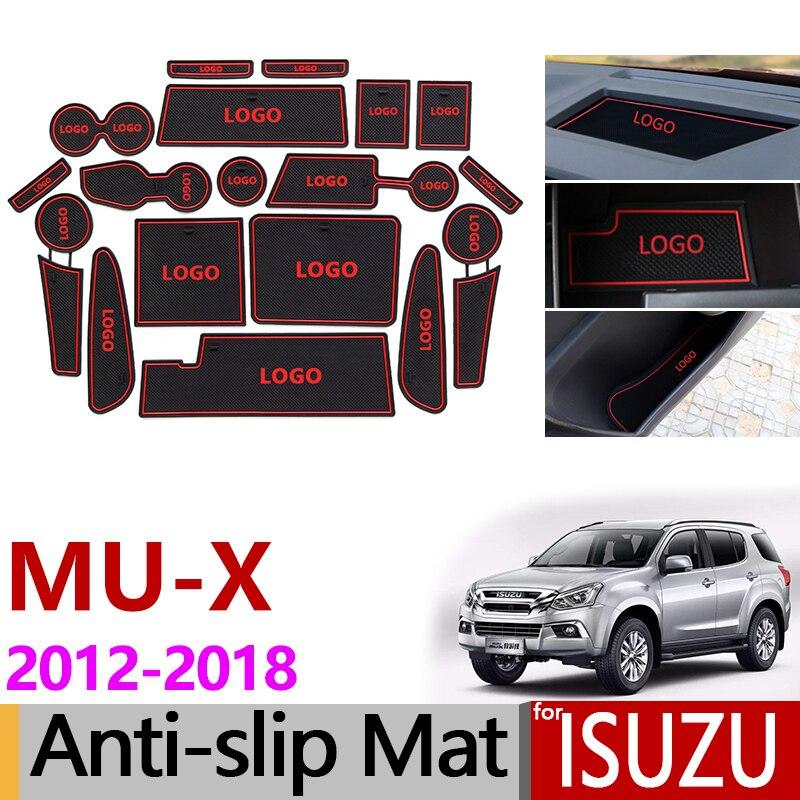Para Isuzu MUX 2012 ~ 2018 almohadilla antideslizante de goma esteras con surcos para puerta RF10 RF20 2013 2014 2015 2016 2017 MU-X MU X Accesorios