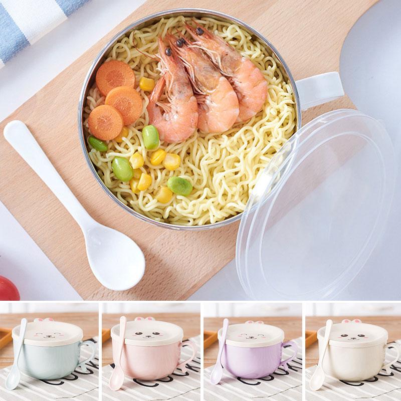 Cuenco de acero inoxidable multiusos 4 colores PP cuenco redondo ensalada caja de almuerzo de retención de calor