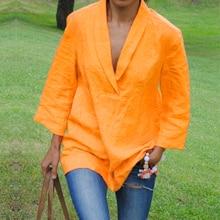 Nouveauté 2020 ZANZEA haut pour femme automne Sexy col en V solide coton chemises décontractées amples longue Blouse Vintage Blusas Femininas