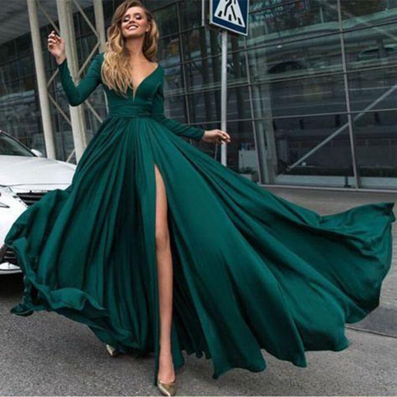 Sexy Evening Dresses Long Side Split Chiffon Evening Gowns Long Formal Women Prom Party Gowns Robe De Soiree Abendkleider недорого