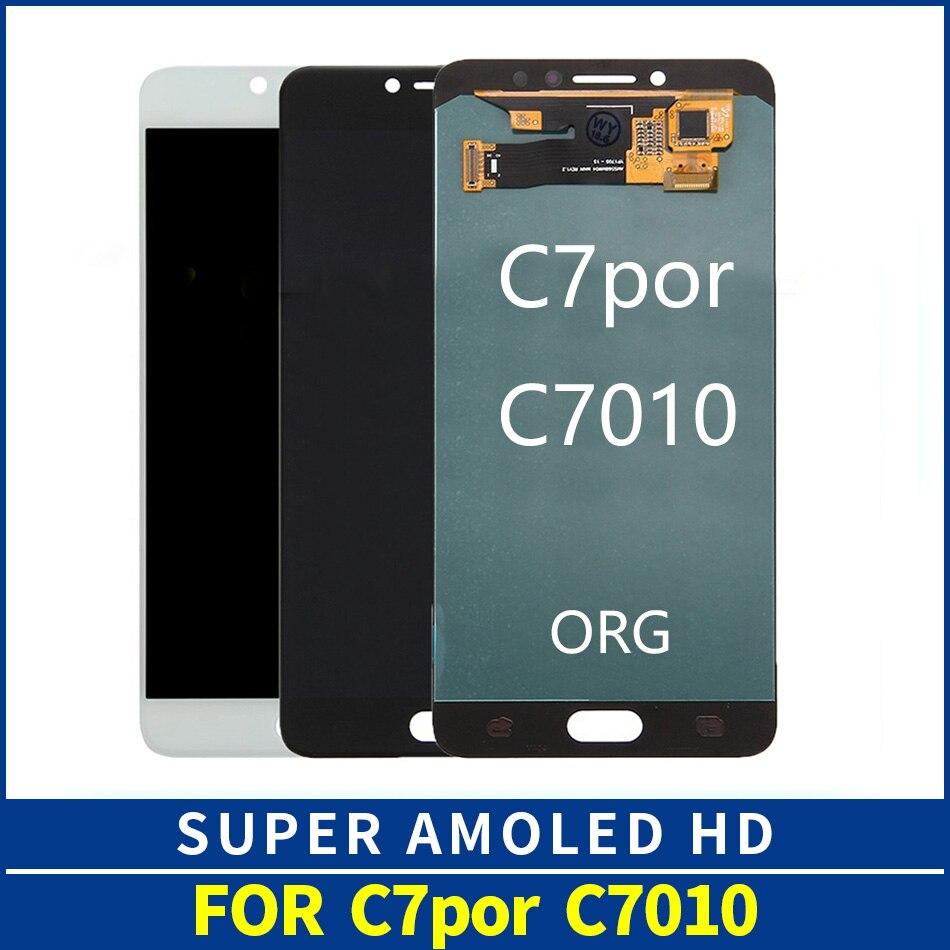 Original Super AMOLED LCD para Samsung Galaxy C7 Pro C7010 LCD pantalla táctil digitalizador montaje reemplazo