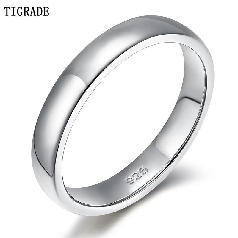 TIGRADE 4mm nunca se decolora 925 anillos de plata esterlina boda para hombres mujeres anillo de compromiso Simple para pareja joyería femenina