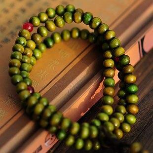 Atacado-china vento frisado homem/mulher buda pulseira de madeira verde grânulo sorte religião 108 presente jóias