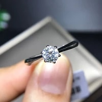 925 real sterling silver round brilliant cut solarite 0 5ct 6 prong moissanite ring solid ring engagement ring for women