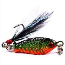 1PCS Mini Lead Fish 4.8g 3.2cm Metal VIB Fishing Lure Hard Bait with Feather Jig Wobbler Crankbait 3D Eyes Bait Fishing Tackle
