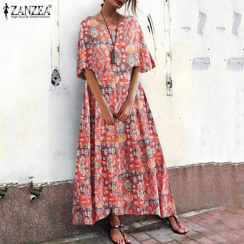 ZANZEA-Vestido Floral Vintage de verano, para mujer, estampado de manga corta, Túnica suelta, para playa y Bohemia